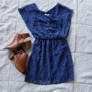 Lush Dress, blue with white dots XS